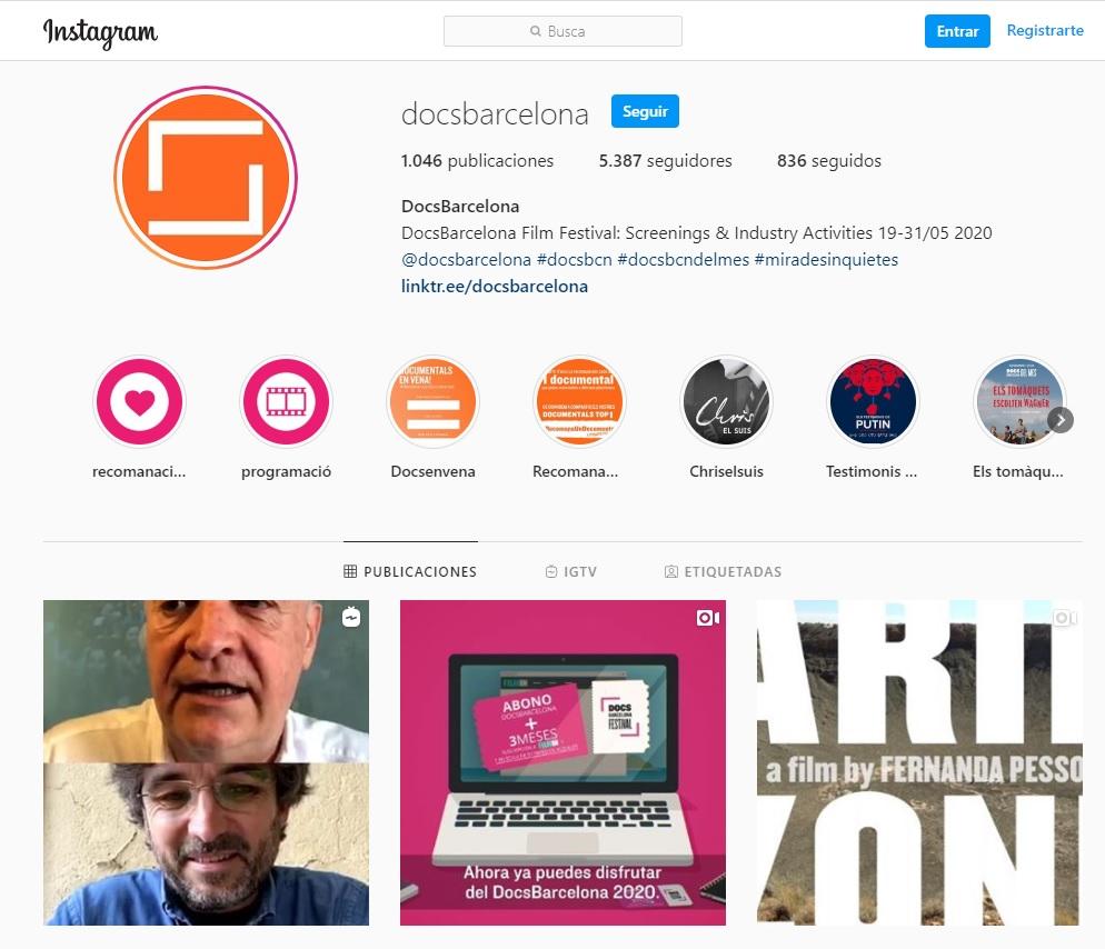 Captura de la cuenta de instagram de DocsBarcelona